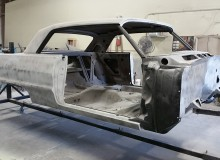 1964 impala ss on the rotisserie, molding the firewal