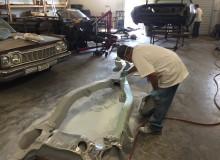 Starting the bondo for 1964 Impala molded frame